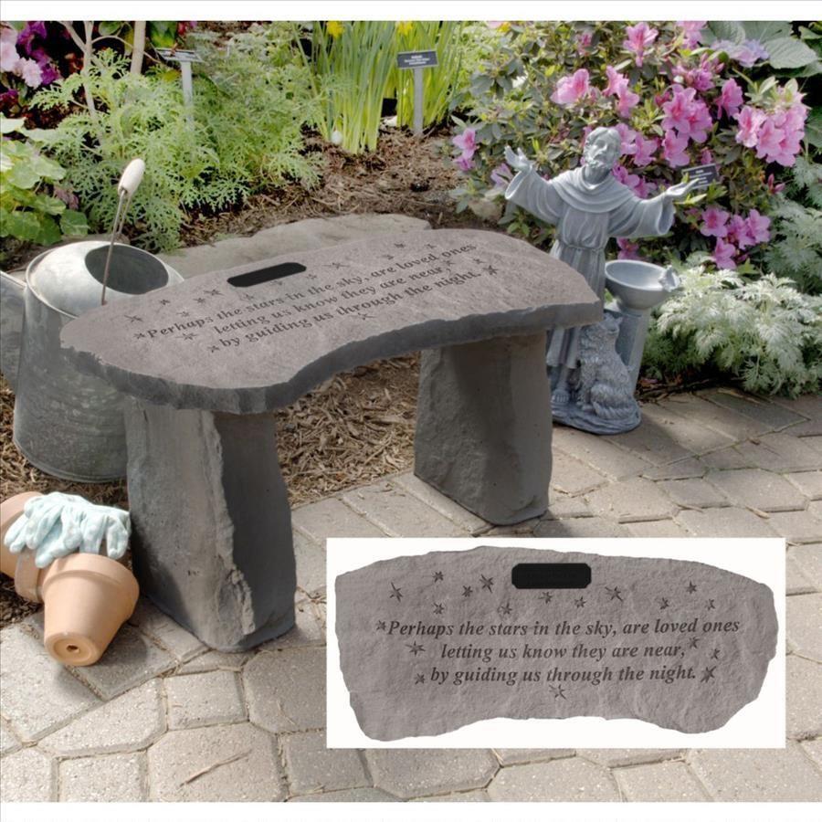 Pleasant Stars Personalized Cast Stone Memorial Garden Bench Garden Ncnpc Chair Design For Home Ncnpcorg
