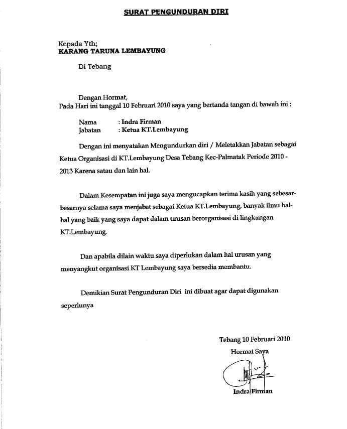 10+ Contoh Surat Pengunduran Diri Dari Organisasi Paling ...