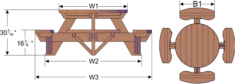 Round Picnic Tables (Attached Benches)   Round Picnic Tables (Attached  Benches)