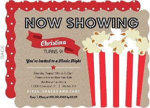 movie night kids party invitations movienight movie night popcorn red - Movie Birthday Party Invitations