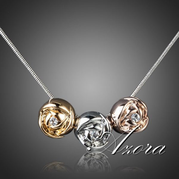 AZORA Brand Design Platinum Plated Stellux Austrian Crystal 3pcs Roses Pendant Necklace TN0071