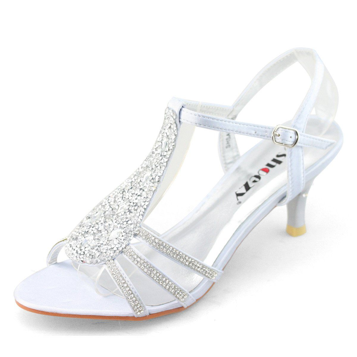 Amazon: SHOEZY New Women Ladies Low Heels Wedding Prom Shoes Diamant  Strappy Sandals