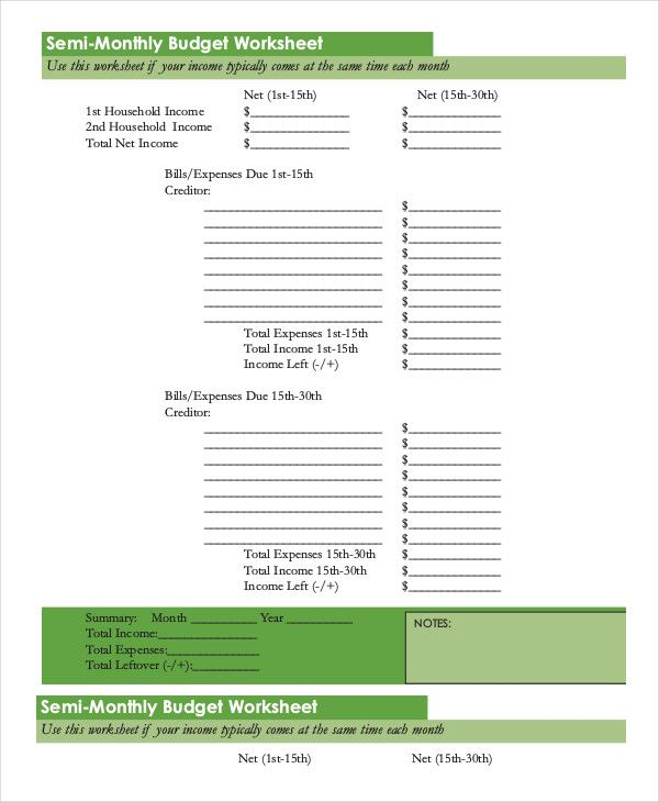 Semi Monthly Budget Template , 18+ Monthly Budget Template Excel - spreadsheet templates excel
