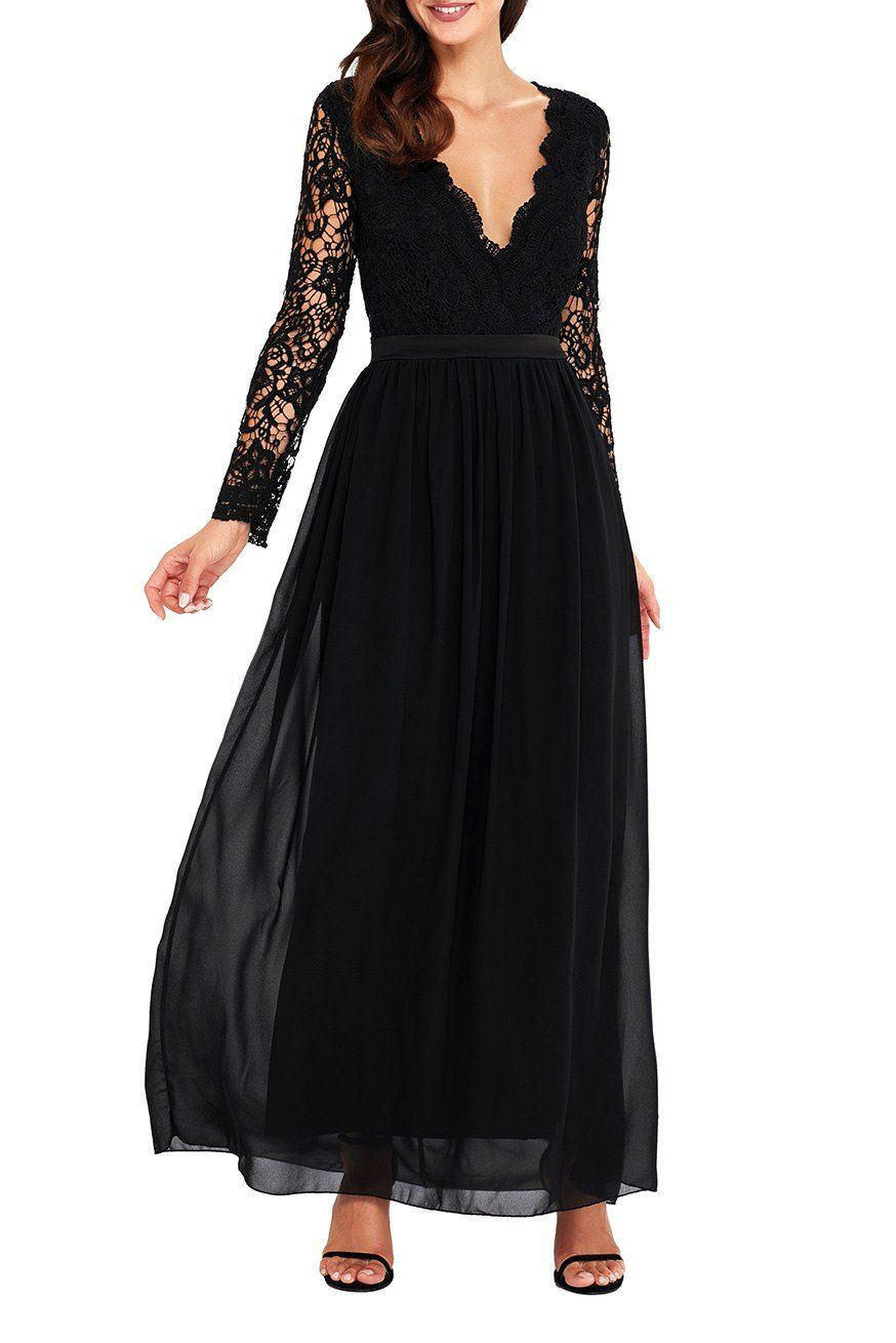 aa3f4bf10914 Robe de Soiree Longue Noir Dos Nu Manches Longues Crochet Pas Cher  www.modebuy.com  Modebuy  Modebuy  Noir  occasion  classy  simple  outfit