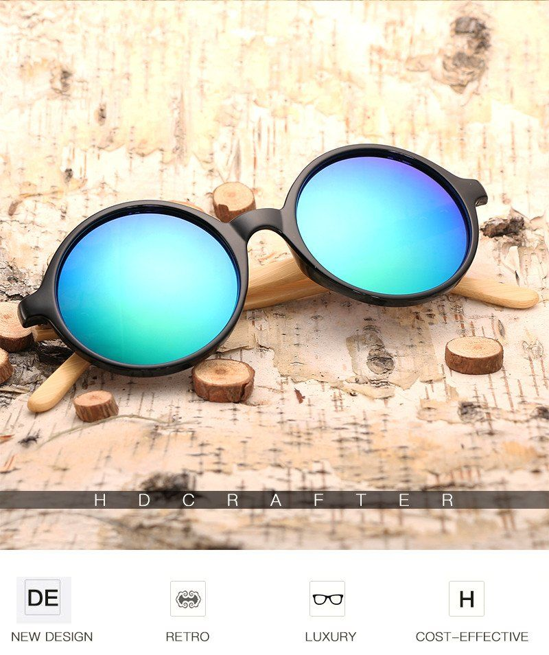 Round Frame Wooden Sunglasses – Bamboo Voovu Shop | Bamboo ...