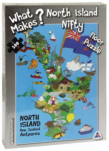 The WhatMakes? North Island Nifty jigsaw puzzle showcases the North Island of New Zealand and some of the uniquely iconic place, people and things that is is famous for.