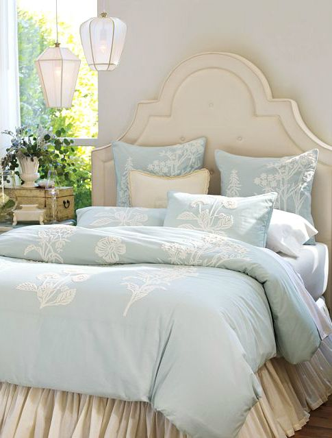 Cottage  Pale Blue Cream Bedroom