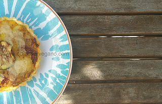 Quiche con sabor mediterráneo: patata,tomate seco, puerro y finas hierbas