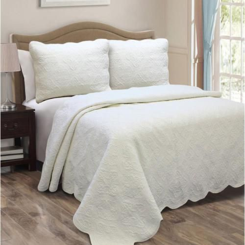 Faux Matelasse Scalloped Edge Quilt Set Cotton Cover Fill Ivory King Size Ebay Shabby Chic Bedding White Quilt Quilt Sets
