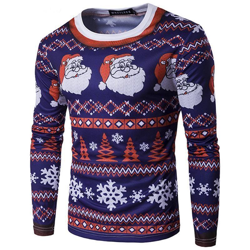 36a802852ab6 loomrack Christmas Ugly Sweater Long Sleeve Muscle T- Shirt - Santa Navy White  Christmas Ugly Sweaters Santa Navy White   S