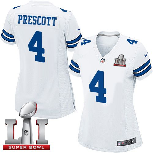 7d46a329f Nike Dallas Cowboys Women s  4 Dak Prescott Elite White Road Super Bowl LI  NFL Jersey