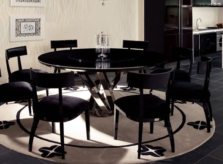 Spiral Round Black Crocodile Lacquer Table W Lazy Susan