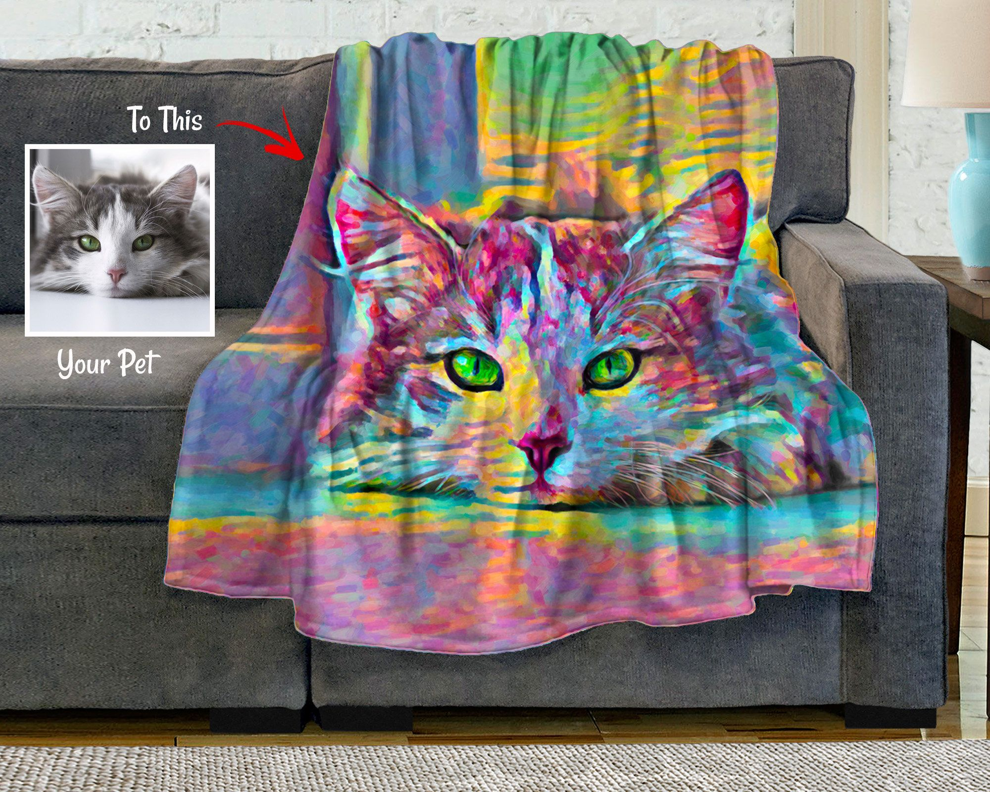 Custom cat photo blanket personalized pet picture blanket