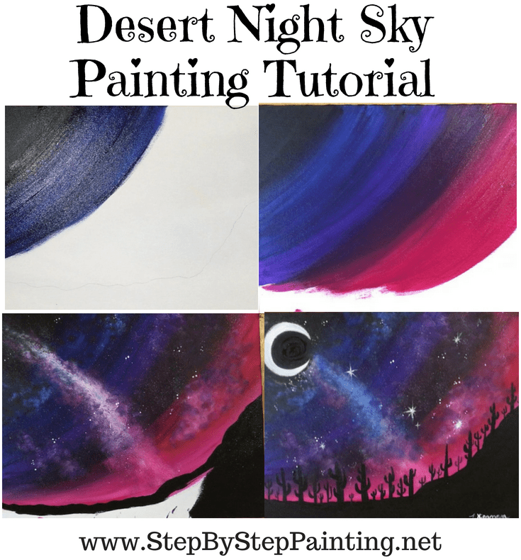 Learn How To Paint A Desert Night Easy Landscape Paintings Oil Pastel Art Simple Oil Painting