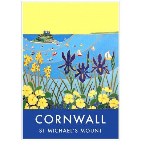 Vintage Style Seaside Poster by Joanne Short of St Michael\'s Mount ...