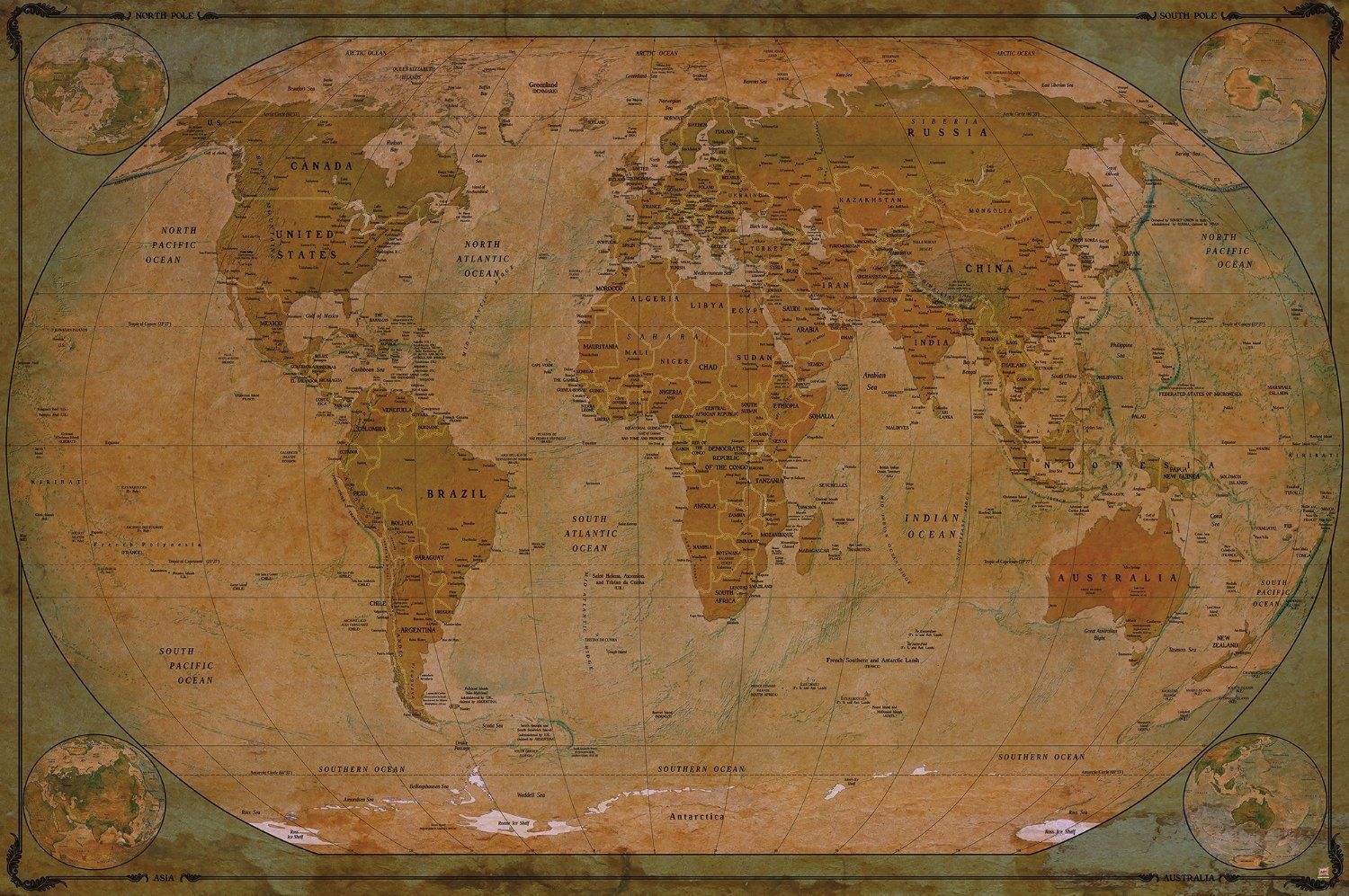 carte du monde carte du monde historique sur papier peint motif r tro vintage xxl carte. Black Bedroom Furniture Sets. Home Design Ideas