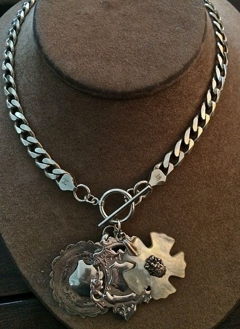 Heavy sterling curb chain with vintage sterling watch fobs and mother of pearl pendant