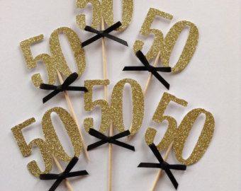 50 Cupcake Toppers Oro Brillan Primeros De La Torta Decoracion Fiesta Negro Y Cumpleanos 30 40 60