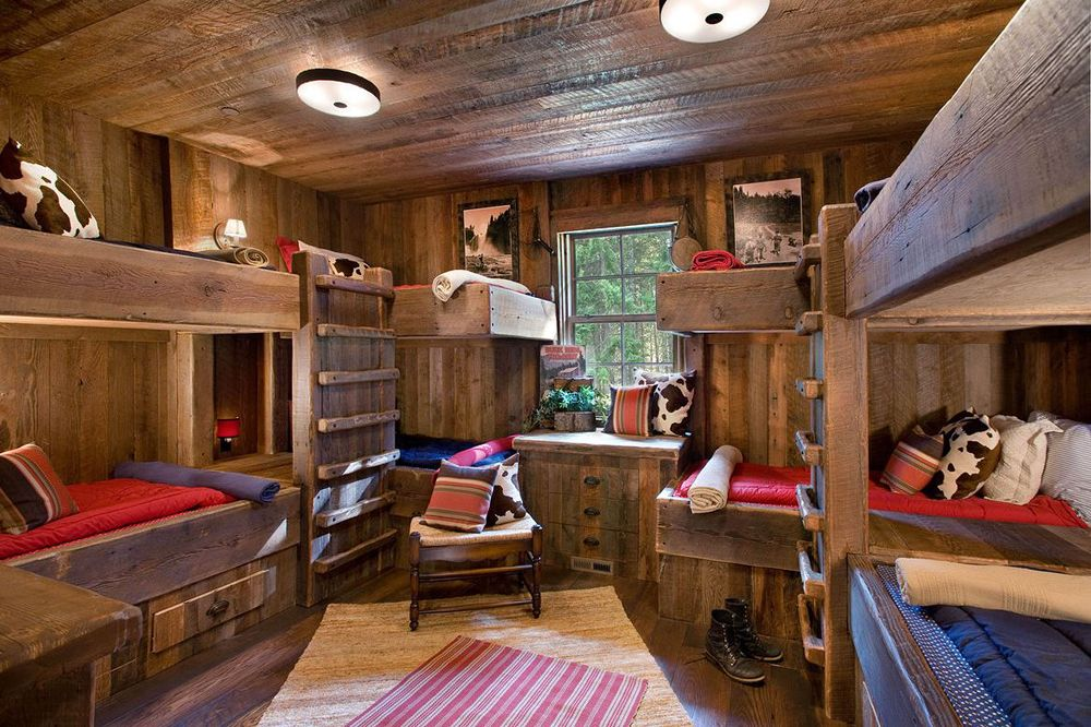 Rustic bedrooms design ideas rusticbunkhouse game room for Log cabin style bunk beds