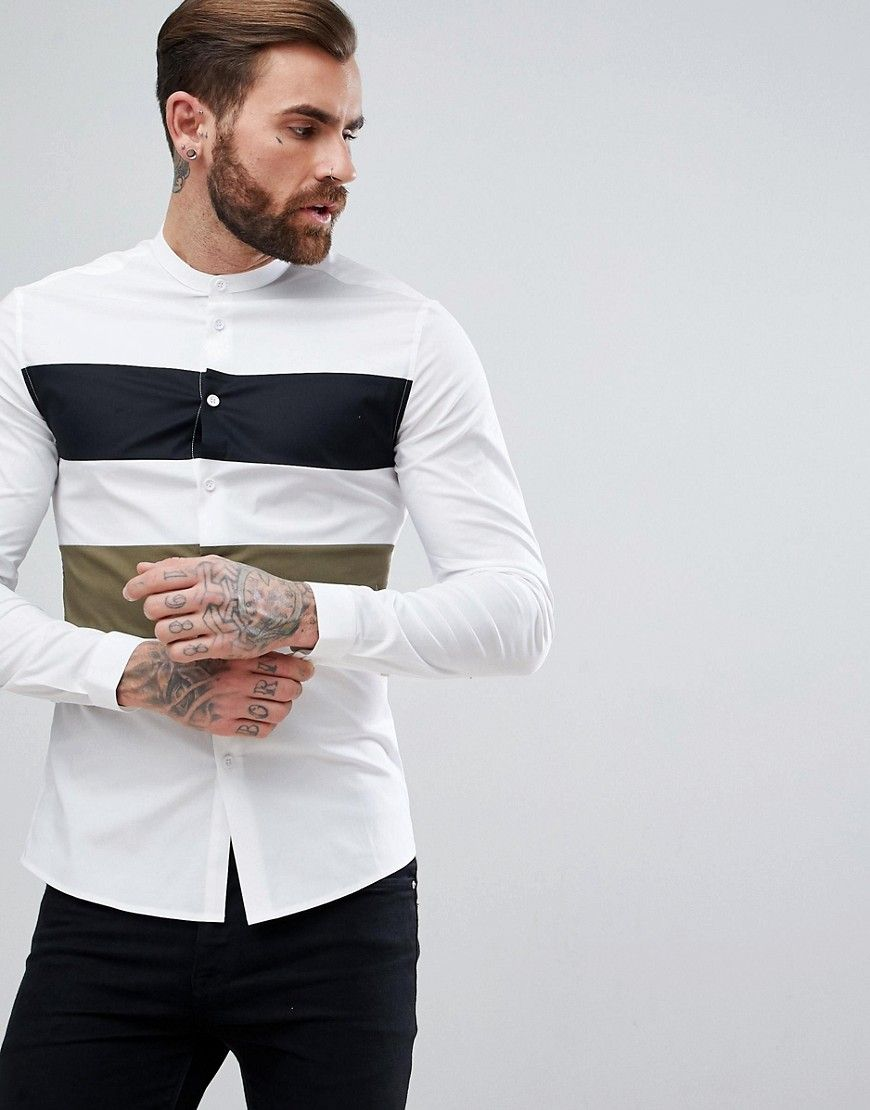 46be5622e ASOS Skinny Shirt With Khaki and Black Cut And Sew Panel - White