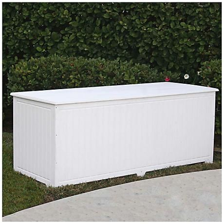 This Large White Outdoor Deck Box Is Made From Eco Friendly Recycled Plastic That Will Stand Up To The Elements