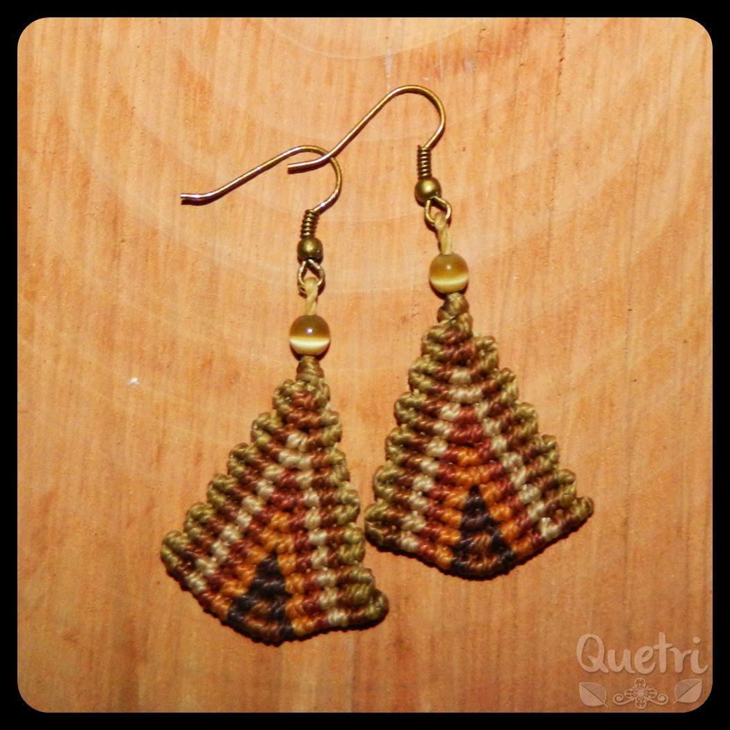 Aros tejidos forma triangular tonos café  #aros #triángulo #macramé #café
