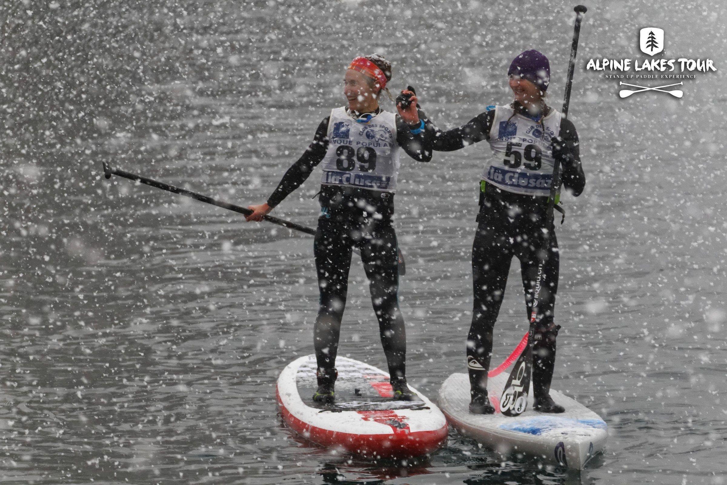 Beach race sous la neige sur le lac d'Annecy
