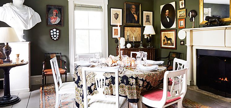 Frank Faulkner   The Forest Green Dining Room Takes On A Regal Note With A
