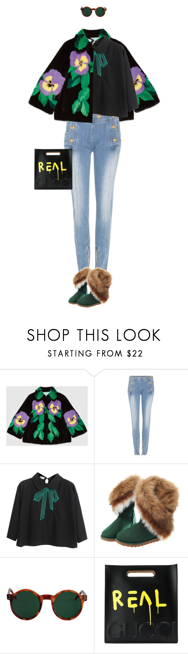 """eva 0314"" by evava-c ❤ liked on Polyvore featuring Gucci, Balmain, Chicnova Fashion and American Apparel"