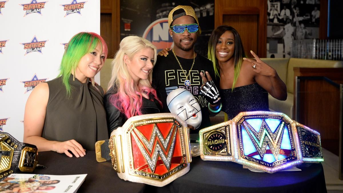 Alexa bliss naomi asuka and shinsuke nakamura take part in the alexa bliss naomi asuka and shinsuke nakamura take part in the summerslam meet kristyandbryce Choice Image