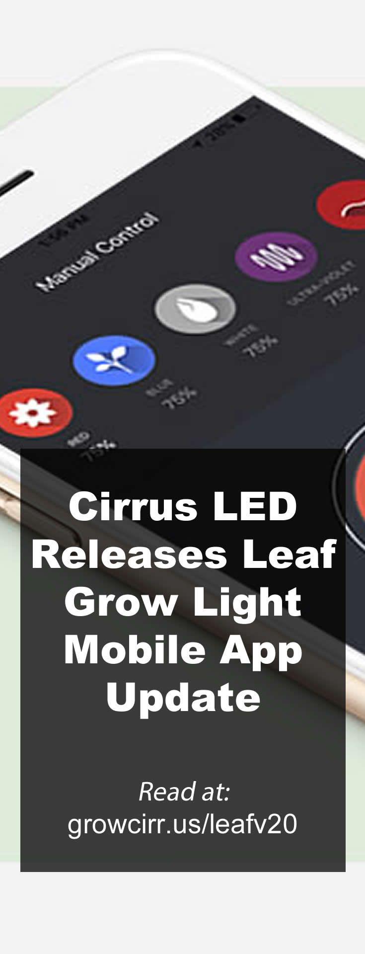 Cirrus LED Releases Leaf Grow Light Mobile App Update