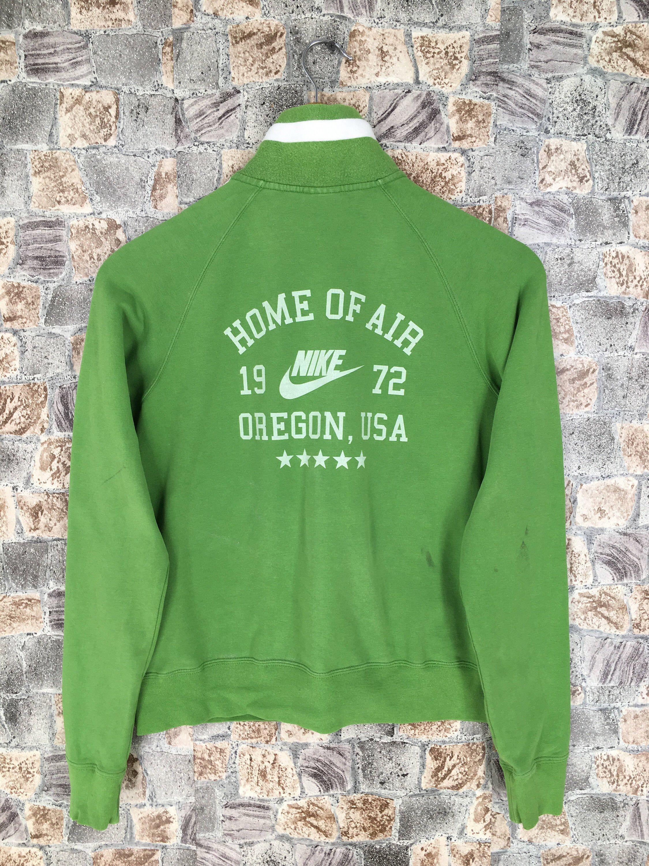 Nike Air Cropped Sweater Small Ladies Vintage 90 S Nike Swoosh Nike Oregon Sportswear Green Zipper Sweatshirt Size S In 2020 Vintage Nike Sweatshirt Cropped Sweater Distressed Sweatshirt