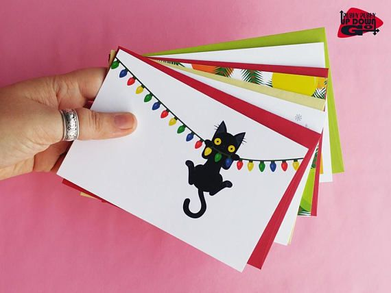 Funny Christmas Black Cat Cards (set of 4), Funny Cat Holiday Card