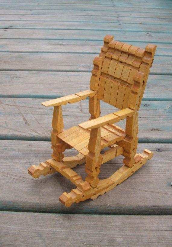 Sedie Fatte Con Mollette Di Legno.Vintage Wooden Clothespin Doll Rocking Chair Tramp Folk Art