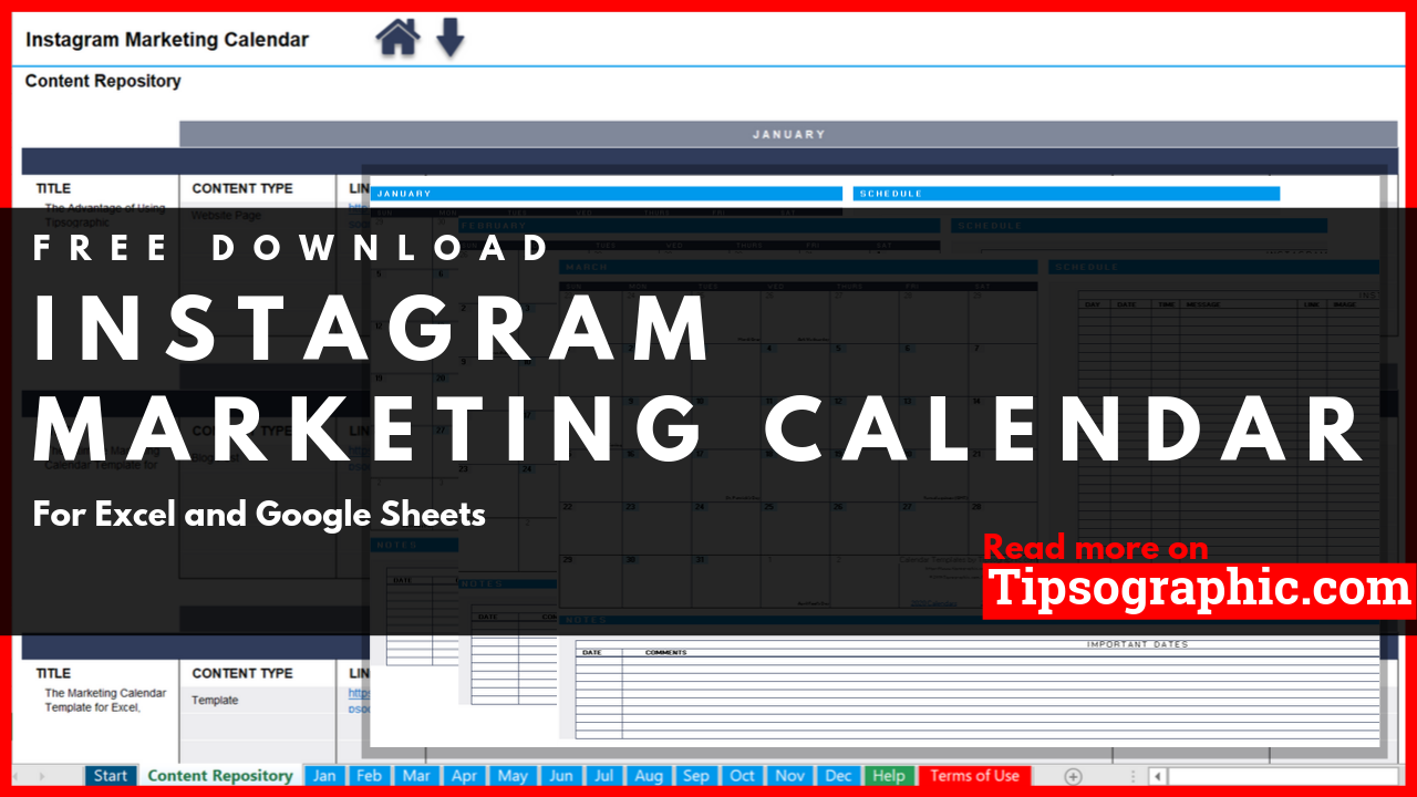Instagram Marketing Calendar Template For Excel 2019 2020 2021 Free Download Tipsographic Marketing Calendar Template Marketing Calendar Calendar Template