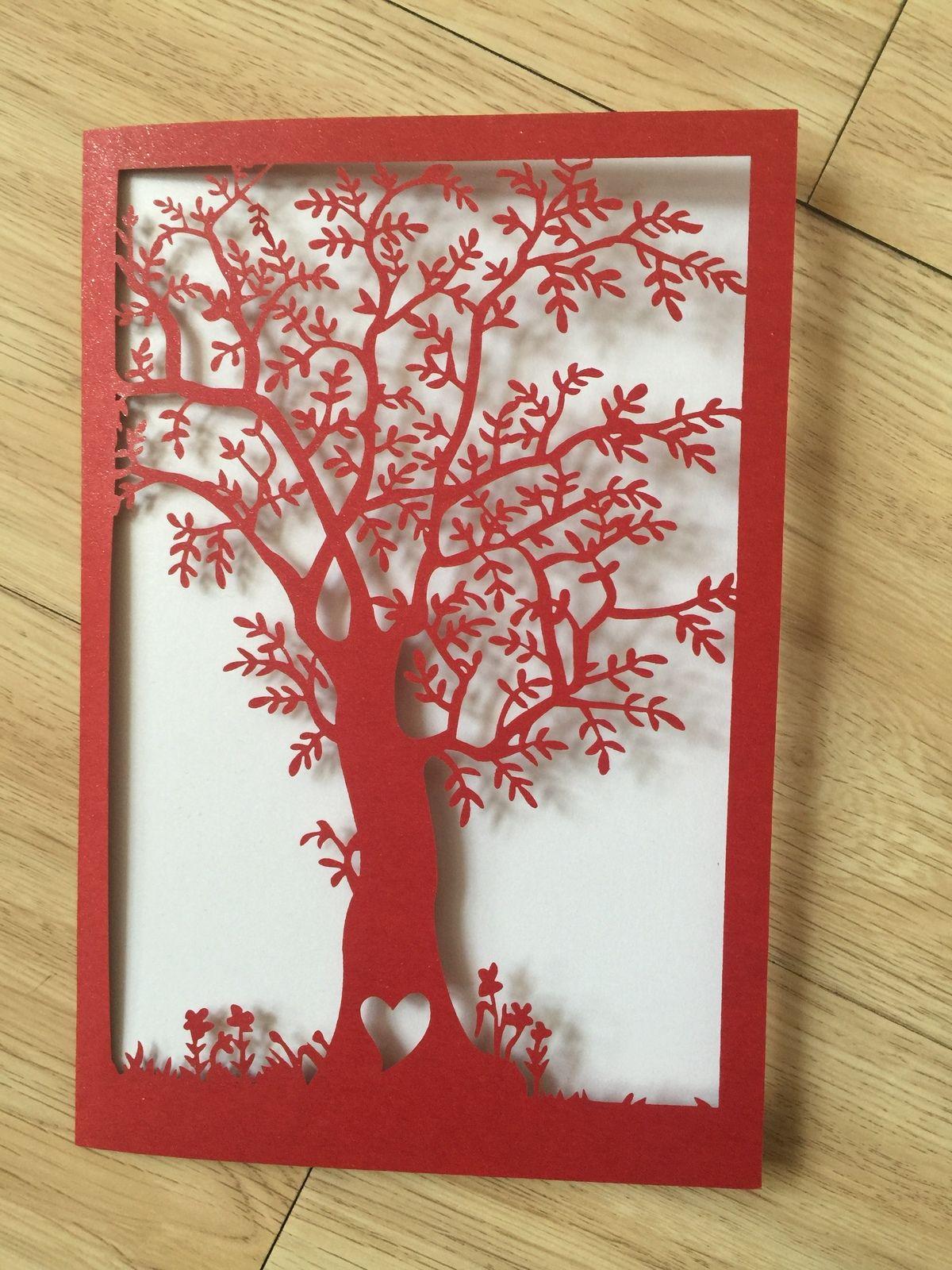 50pcs Tree Laser Cut Invitation Cards,Wedding invitation,Greeting ...