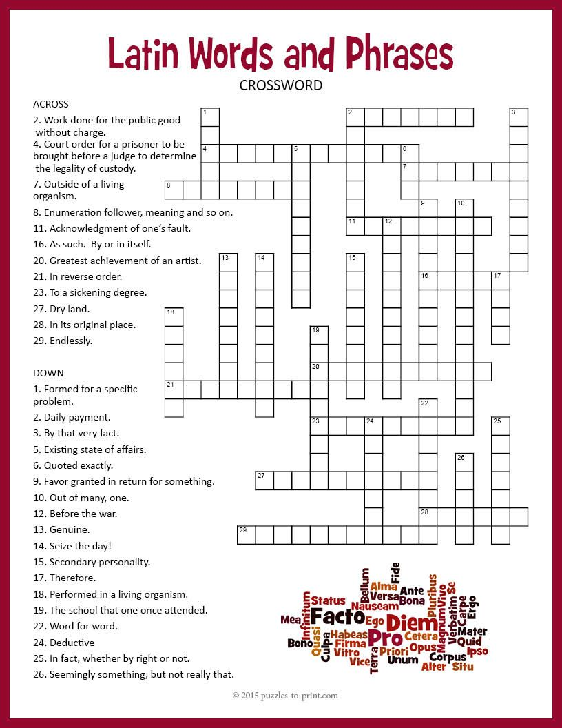 Latin Crossword Puzzle Crossword Puzzle Crossword Latin Words