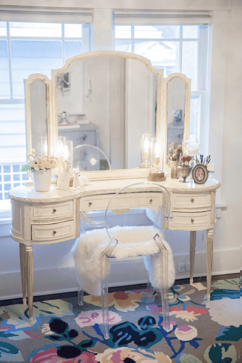 Tribesigns Vanity Makeup Table Set With Mirror Stool Bedroom