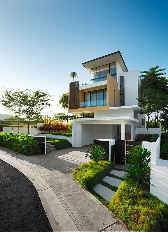 modern contemporary home exterior in white with unique wood balcony modern houses