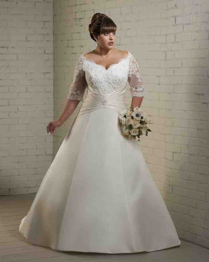 Plus Size Wedding Dresses Under 100 Dollars Satin Bridal Gowns Half Sleeve Wedding Dress Plus Size Wedding Dresses With Sleeves