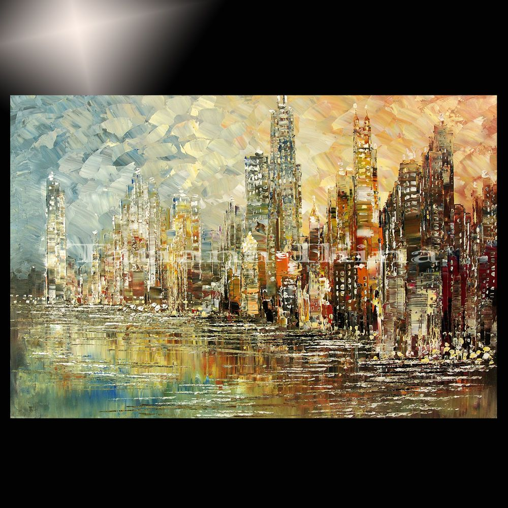 100 Hand Drawn City At Night 3 Knife Painting Modern: Giclee Of CHICAGO Painting Original CITY Lights TATIANA