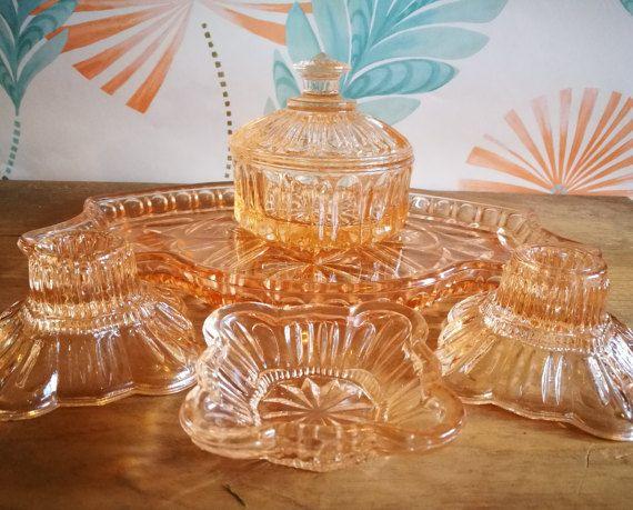 Vintage Dressing Table Set Glass Dressing Table Set Vintage