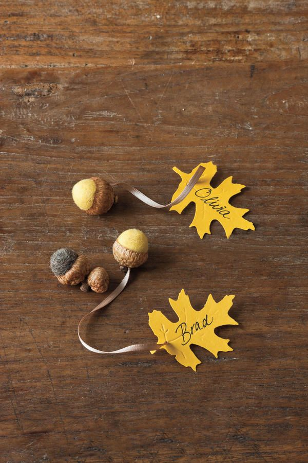 Use Playful Place Cards - Fabulous Fall Decorating Ideas - Southernliving. Write the name of each guest on a leaf place card attached to a little felted acorn that doubles as a fun party favor. Scatter loose felted acorns—or real ones—up and down the table to play up the natural theme.