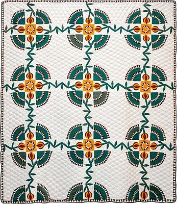 Antique quilt, New York Beauty Variation