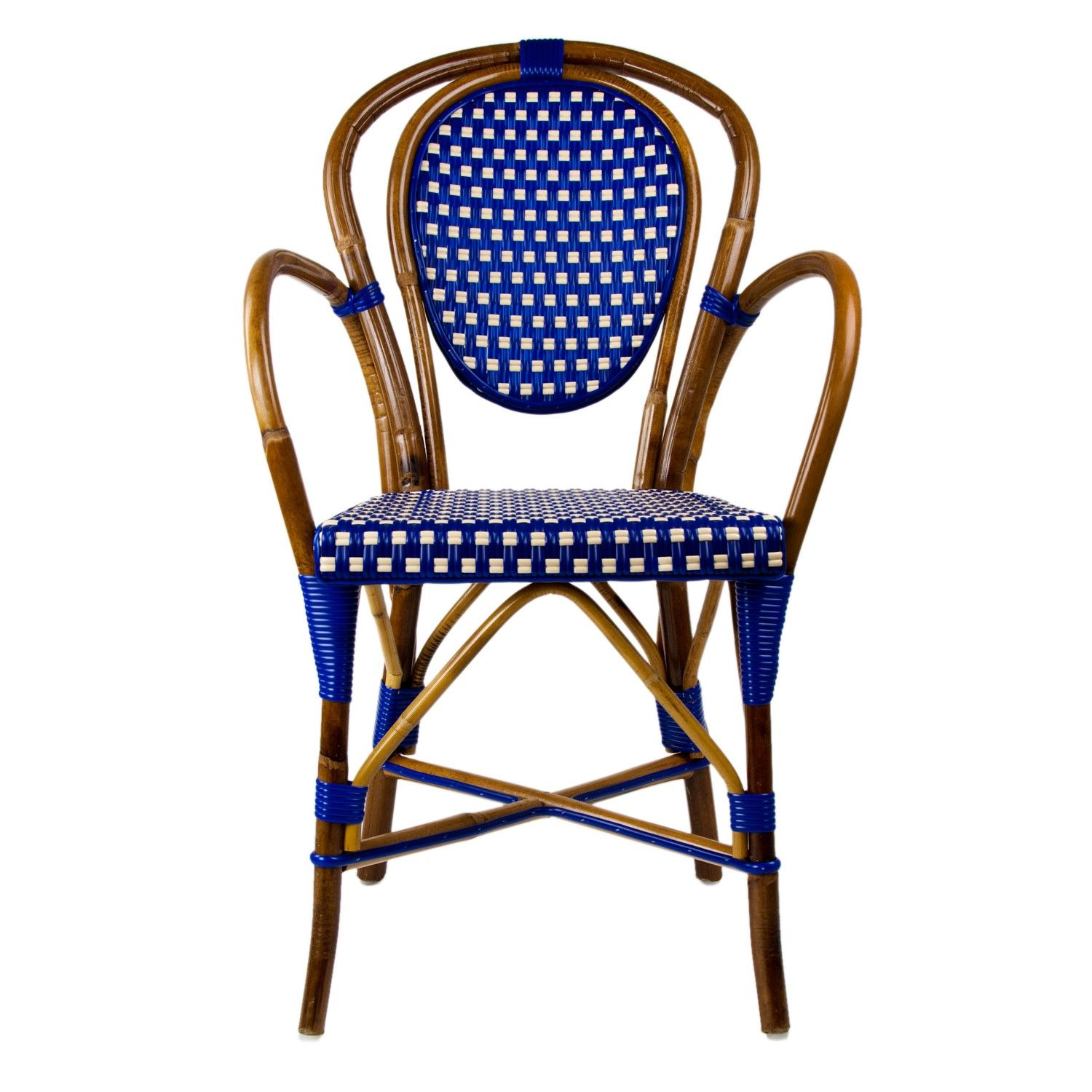 French Bistro Chair Blue And Cream Mediterranean Bistro Armchair B Chairs In