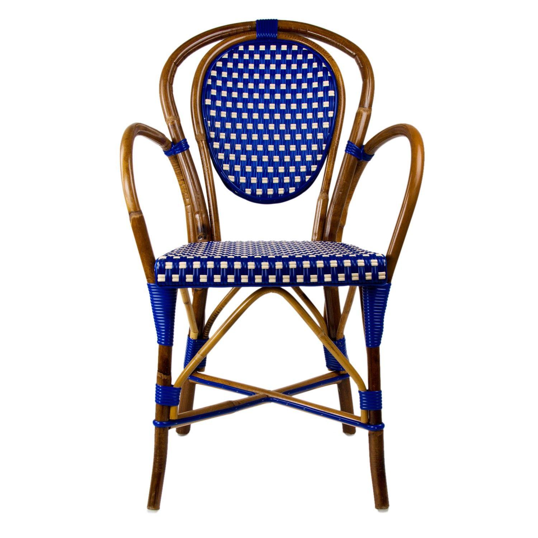 Delightful Blue U0026 Cream Mediterranean Bistro Armchair ...