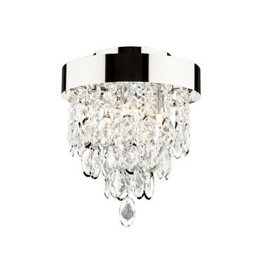 The elegante ceiling semi flush mount features a chrome finish and crystal glass framed around round shaped metal three 50 watt 120 volt jcd type base