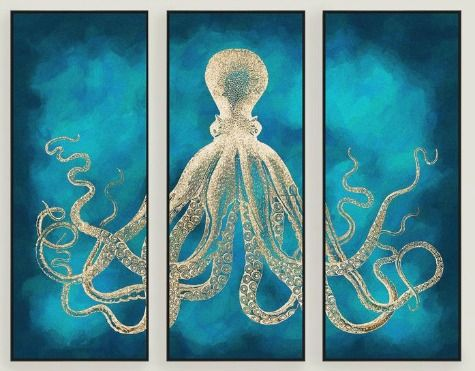 Octopus Designs For Your Home Decor Sea Life Wall Art Octopus Wall Art Triptych Wall Art