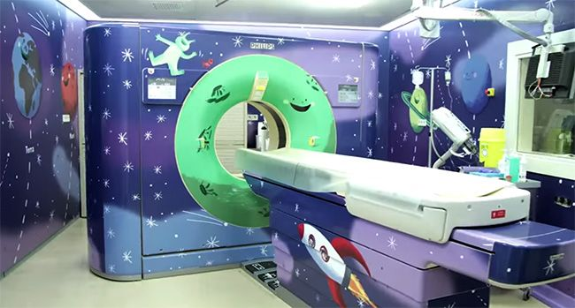 Spaceship Themed Mri Room Complete With Wall Murals And A Wrapped Mri Machine Floor Graphics Healthcare Design Hospital