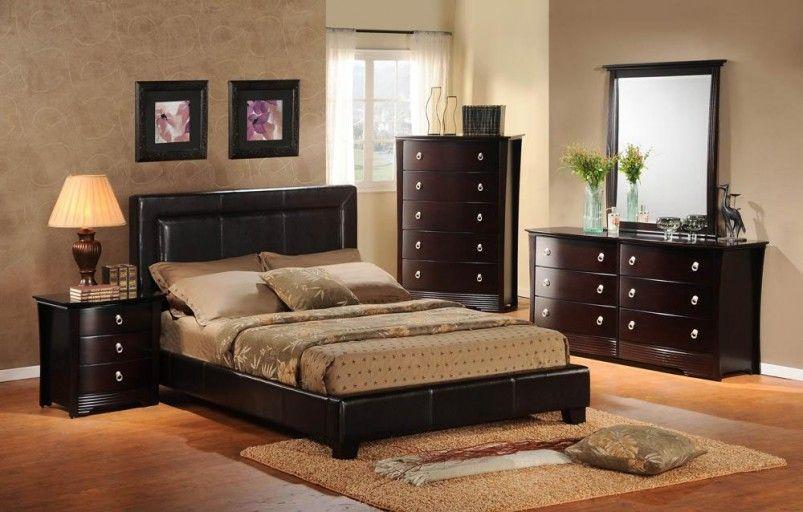 Bedroom, Fabulous Cherry Bedroom Furniture Wooden Floor Black Bed